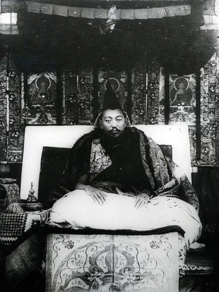 Thubten Gyatso, 13th Dalai Lama of Tibet. c.1908-21 (b/w photo)