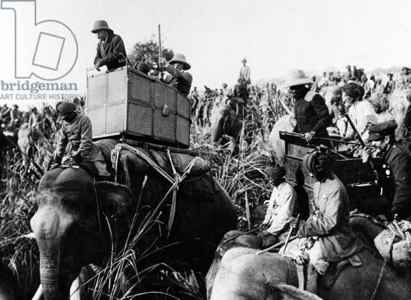 King George V Shooting Rhinos in India, 1911 (b/w photo)