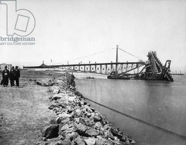 Dredging the Suez Canal, c.1870s (b/w photo)