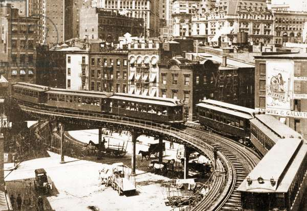 The S-curve of the 3rd Avenue Elevated Railroad at Coenties Slip, 1904 (litho)