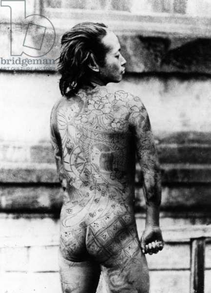 Tattooed 'Betto', c.1860-80 (b/w photo)