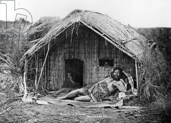 Maori Chief and Whare, c.1863-80 (b/w photo)