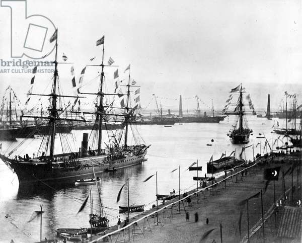 The Opening of the Suez Canal, Port Said 1869 (b/w photo)