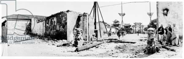 The Viceroy Administrative Office after the 1911 Uprising, Wuchang, 1911 (b/w photo)