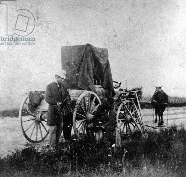 Alexander Gardner's darkroom on wheels, 1867 (b/w photo)