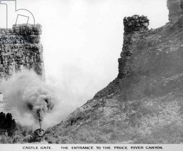 Castle Gate. The Entrance to Price River Canyon, c.1912 (b/w photo)