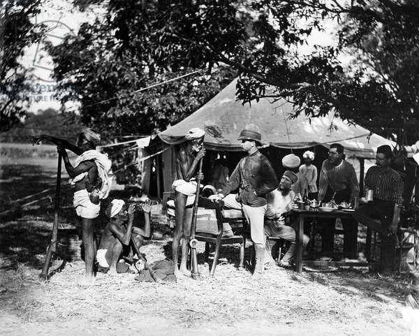Native Shikaries bring news of a Tiger, c.1870s (b/w photo)