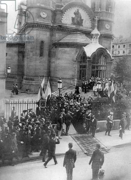 Tsar Nicholas II leaving the Saint-Alexandre-Nevsky Cathedral in Paris, 1896 (b/w photo)