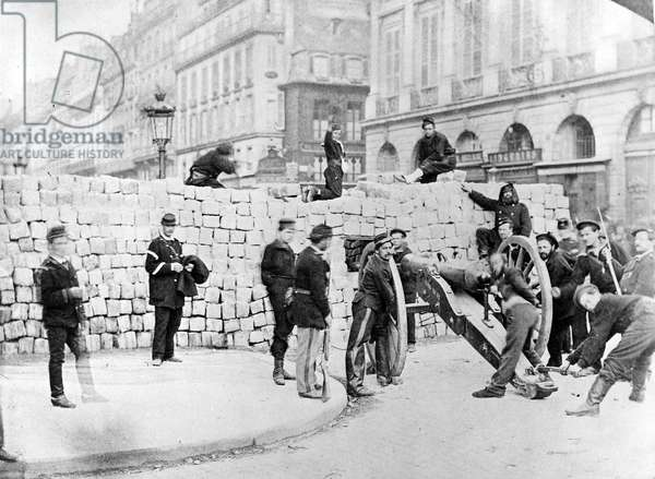 Barricade and Soldiers in the Place Vendôme during the Siege of Paris, 1870 (b/w photo)