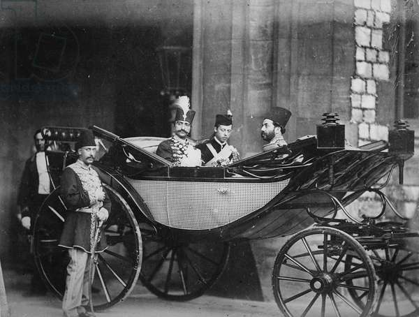 The Shah of Persia leaving Windsor Castle, July 1873 (b/w photo)