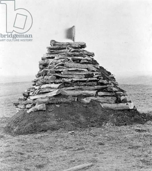 Monument Containing Bones on Custer's Hill, 1879 (b/w photo)
