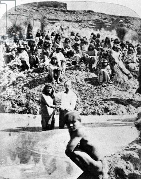 Mormon Baptism of Native Americans, c.1875 (b/w photo)
