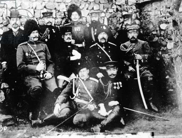 The Meeting of Generals Nogi and Stoessel at Port Arthur, January 2 1905 (b/w photo)