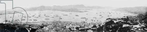 Panorama of Hong Kong Harbour, c.1878 (b/w photo)