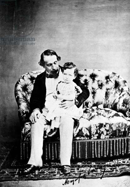 Emperor Napoléon III with the Prince Imperial, c.1860 (b/w photo)