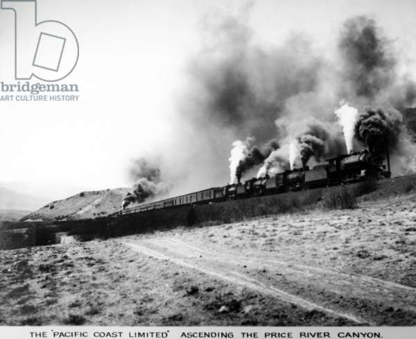 The 'Pacific Coast Limited' Ascending the Price River Canyon, c.1912 (b/w photo)