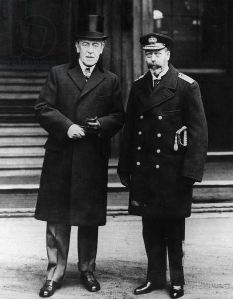 The King poses with President Wilson outside Buckingham Palace, 31st December, 1919 (b/w photo)