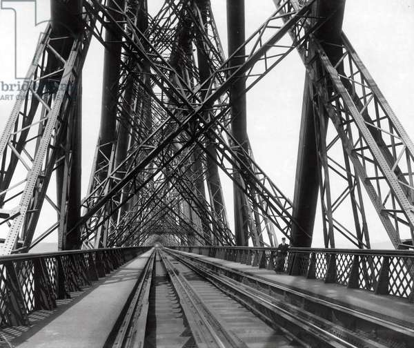 On the Forth Bridge, c.1890 (b/w photo)