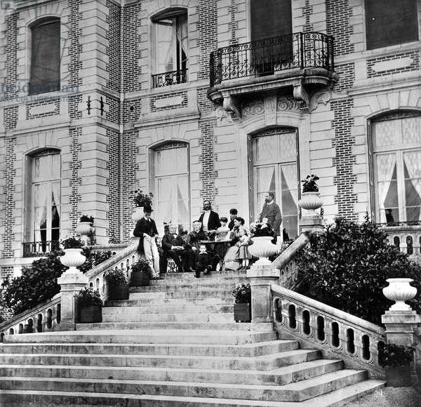 Tea on the terrace of a château, c.1880 (b/w photo)