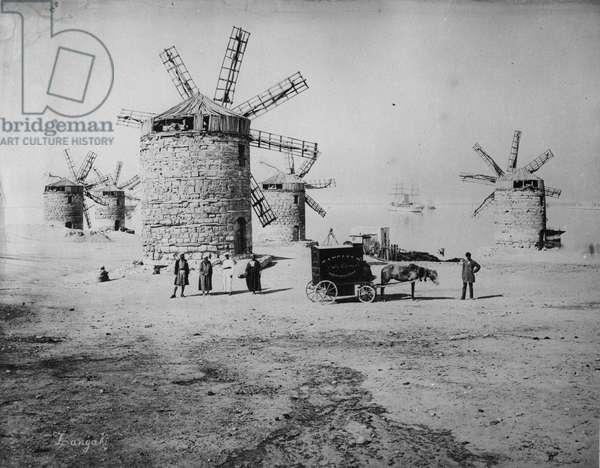 Photographer Zangaki and his mobile darkroom, c.1880 (b/w photo)