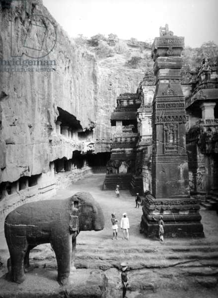 Kailash Temple, Ellora Caves, India, c.1907 (b/w photo)