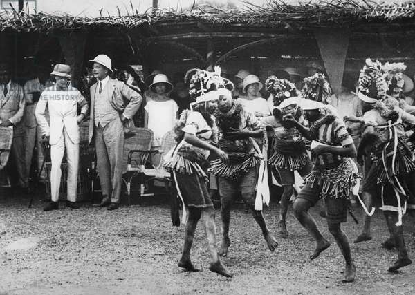 Girls from the Bundu tribe dancing before the prince, Freetown, Sierra Leone, 1925 (b/w photo)