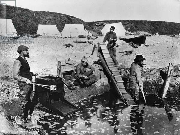 Rocking on Nome Beach, from 'One Man's Gold Rush: A Klondike Album' by Murray Cromwell Morgan (b/w photo)