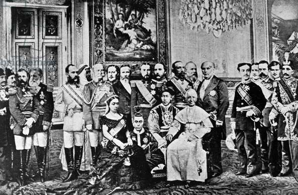 Photomontage of World Rulers, 1867 (collaged b/w photos)