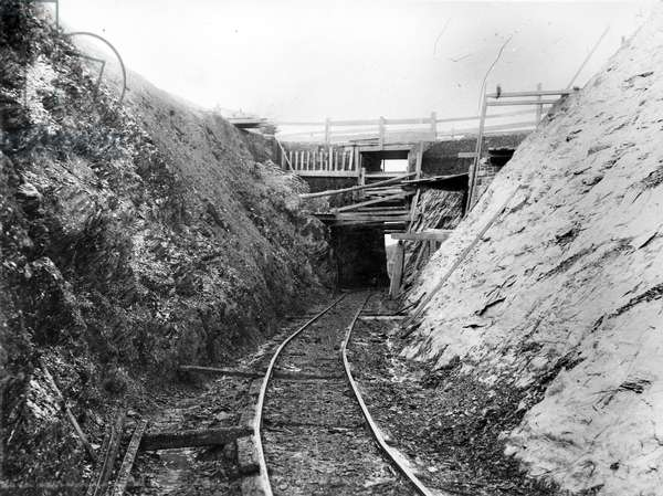 Construction of the Lynton & Barnstaple Railway, c.1897 (b/w photo)
