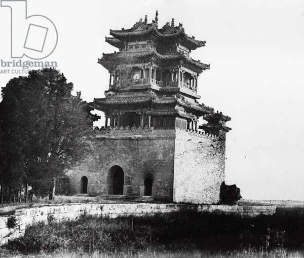 The Belvedere of the God of Literature at the Summer Palace, Beijing, 1860 (b/w photo)
