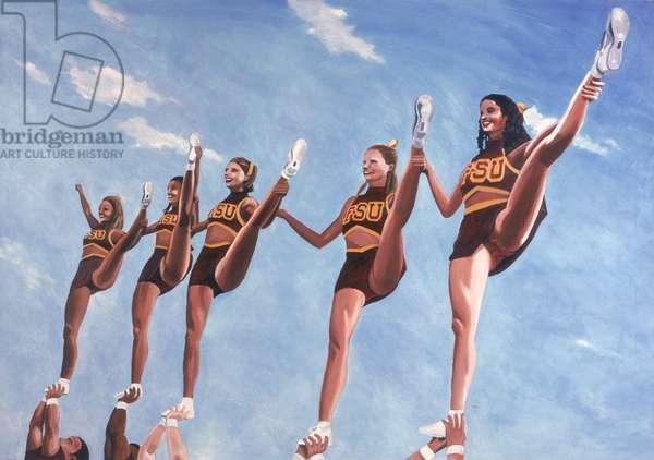 Florida State Cheerleaders, 2002 (oil on canvas)