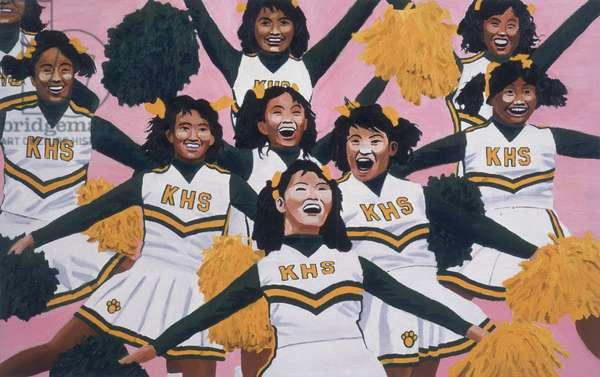 Kiamuki High School Cheerleaders, 2002 (oil on panel)