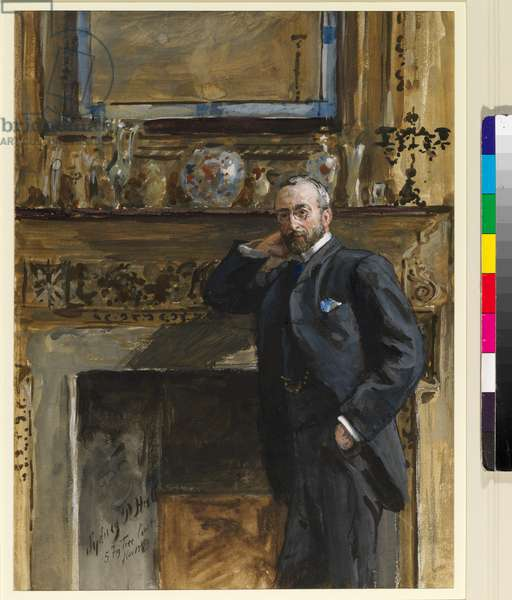 Gentleman in an interior at 5 Fig Tree Court, 1890 (w/c on paper)