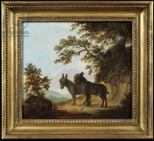 Two Donkeys in a Landscape (oil on panel)