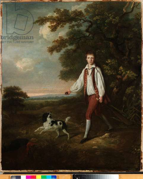 Portrait of a youth holding a cricket bat and ball with his pet black and white springer spaniel in a clearing by a wooded landscape (oil on canvas)