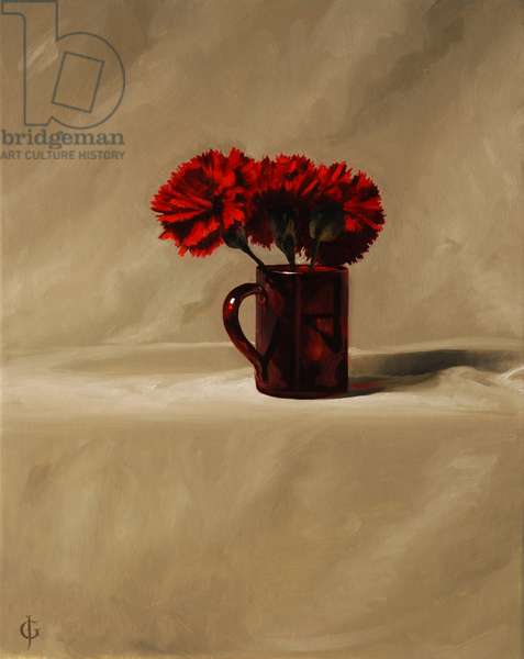 Red Carnations (oil on panel)