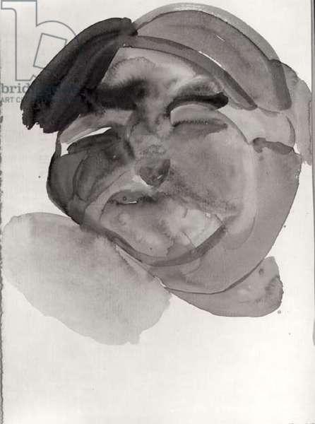 Head of a Girl, 1961 (w/c) (b/w photo)