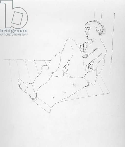 Model Resting, 1941 (ink on paper) (b/w photo)