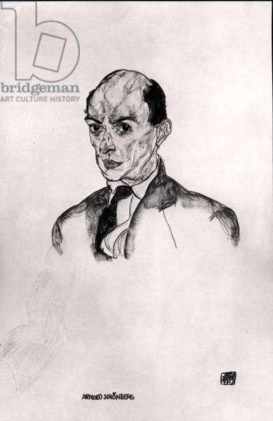A Portrait of Arnold Schonberg (1874-1951) 1917 (pencil on paper) (b/w photo)