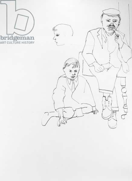 Man in a Chair, Boy on the Floor, 1941 (ink on paper) (b/w)