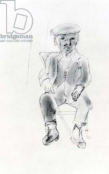 Old Man with a Stick, 1941 (ink & oil on paper) (b/w photo)