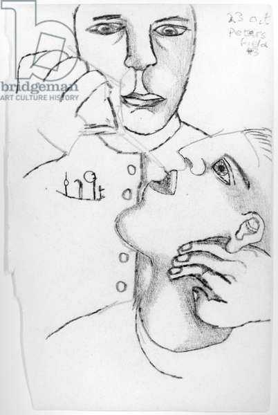 The Dentist, 1943 (pencil & charcoal on paper) (b/w photo)