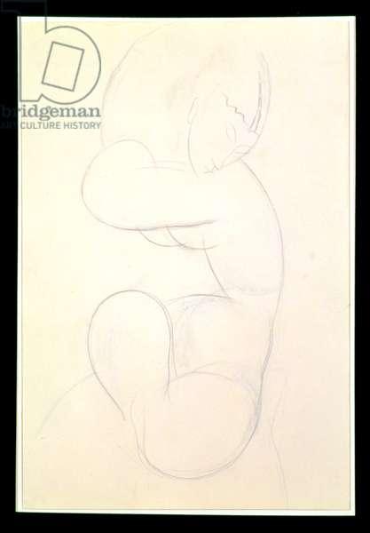 Seated Female Nude (blue chalk)