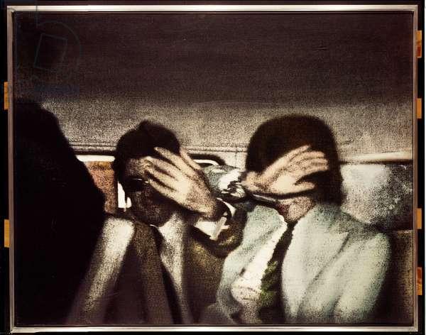 Swingeing London, 67 II, 1968 (oil and silkscreen on canvas)