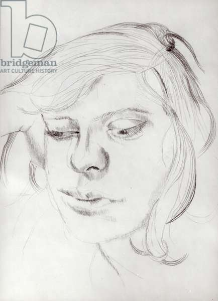 Girl's Head, 1954 (pencil on paper) (b/w photo)