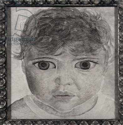 Head of a Child, 1950 (oil on wood) (b/w photo)