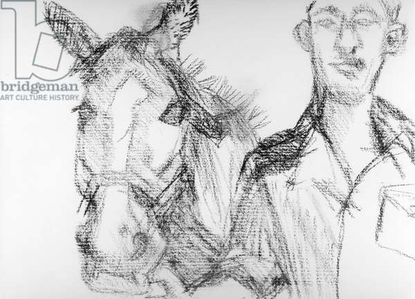 Trooper Button and Pegasus, 1983 (charcoal) (b/w photo)