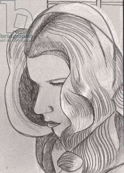 Long Haired Girl, 1945 (crayon) (b/w photo)