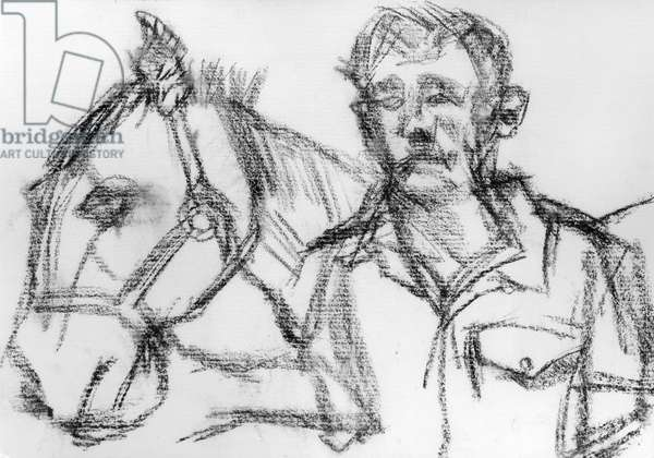 Horse and Trooper IV, 1983 (charcoal) (b/w photo)