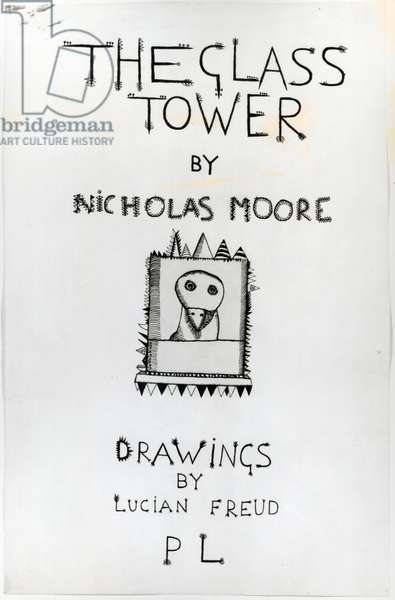 Title page for 'The Glass Tower' by Nicholas Moore, 1944 (pen & ink on paper)